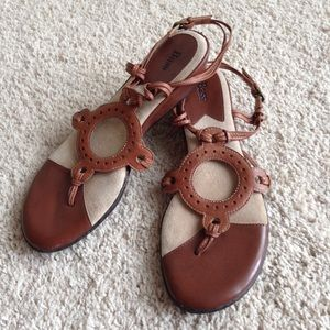 Bass Women's Brown Strappy Heeled Sandals Size 10